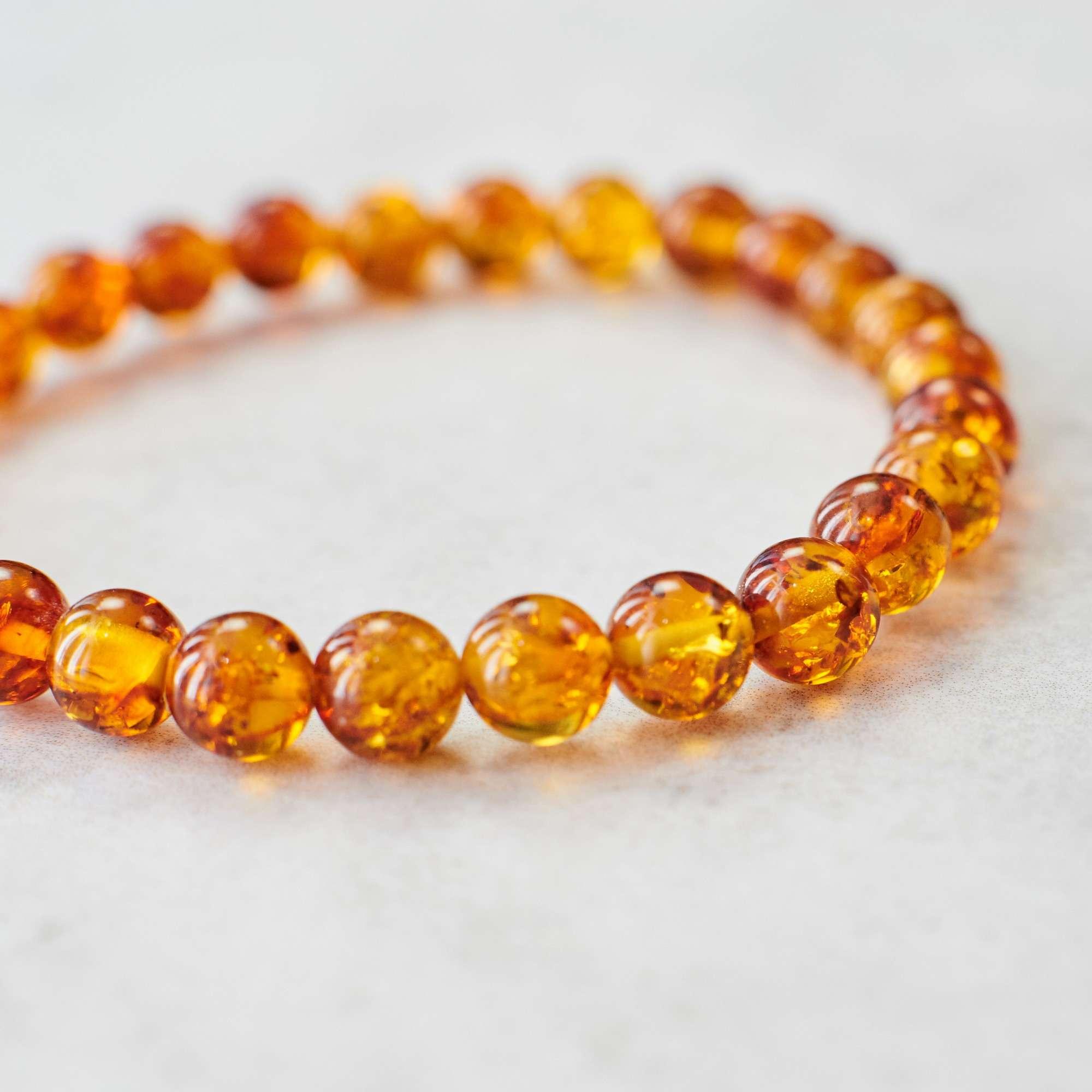 Cognac amber bracelet elegant amber bracelet cognac amber beads cognac color beads stretchy bracelet royal amber amber jewelry